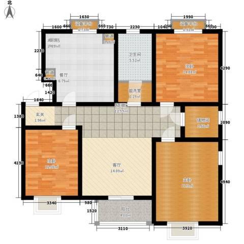 天津滨海现代城3室1厅1卫0厨105.16㎡户型图