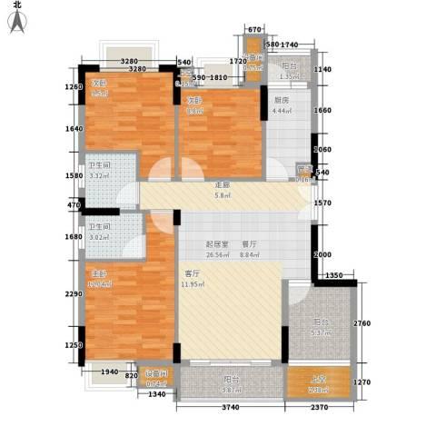 康田紫悦府3室0厅2卫1厨84.00㎡户型图