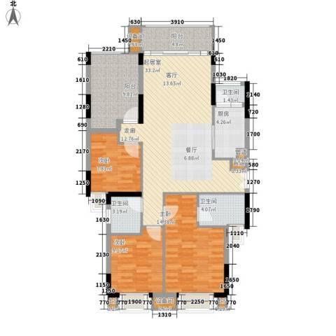 康田紫悦府3室0厅3卫1厨94.36㎡户型图