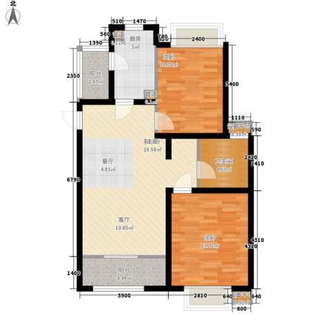 天津滨海现代城2室1厅1卫1厨99.00㎡户型图