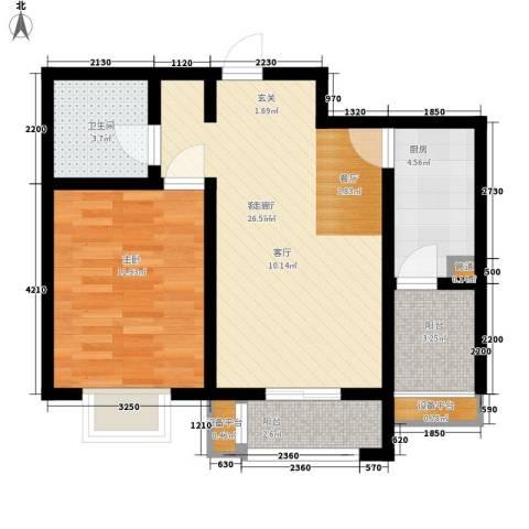 天津滨海现代城1室1厅1卫1厨70.00㎡户型图
