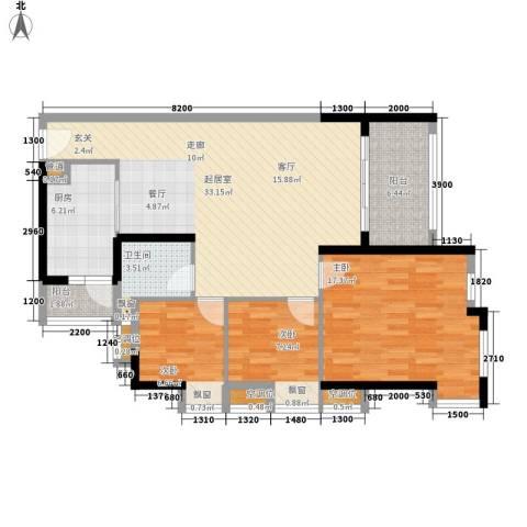 半山雍景苑3室0厅1卫1厨103.00㎡户型图