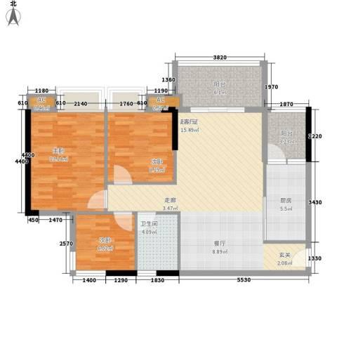 瑜翠园3室0厅1卫1厨88.00㎡户型图