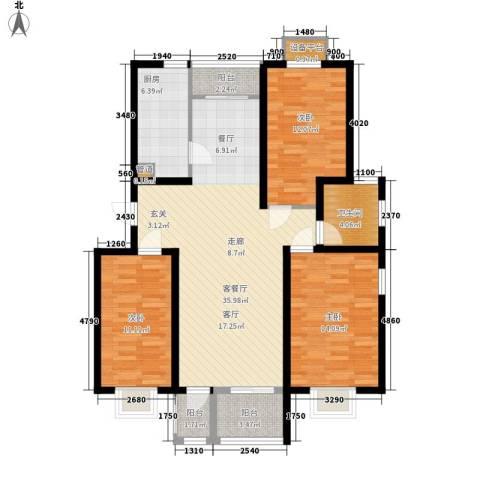 天津滨海现代城3室1厅1卫1厨92.27㎡户型图