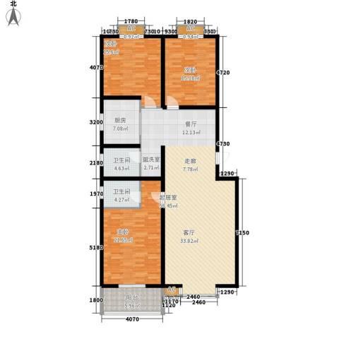 达诺现代城3室0厅2卫1厨147.00㎡户型图