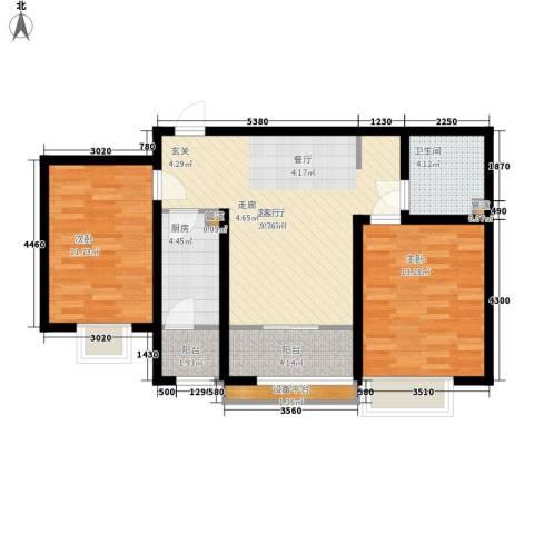 天津滨海现代城2室1厅1卫1厨98.00㎡户型图