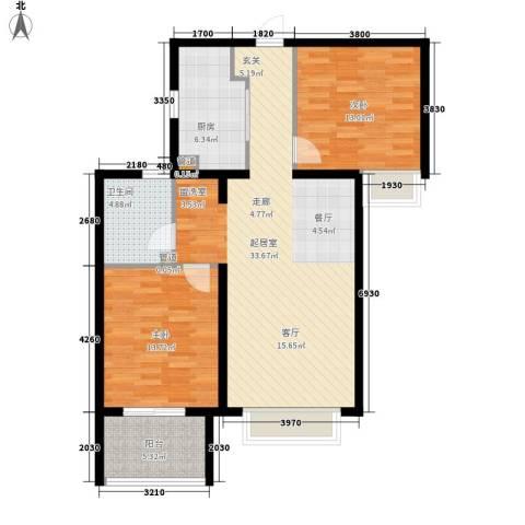 世茂茂悦府2室0厅1卫1厨87.06㎡户型图