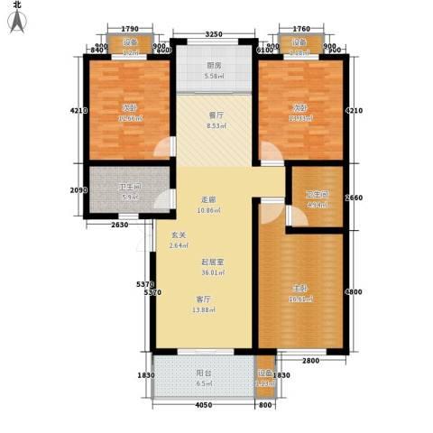 长运家园南苑3室0厅2卫1厨127.00㎡户型图