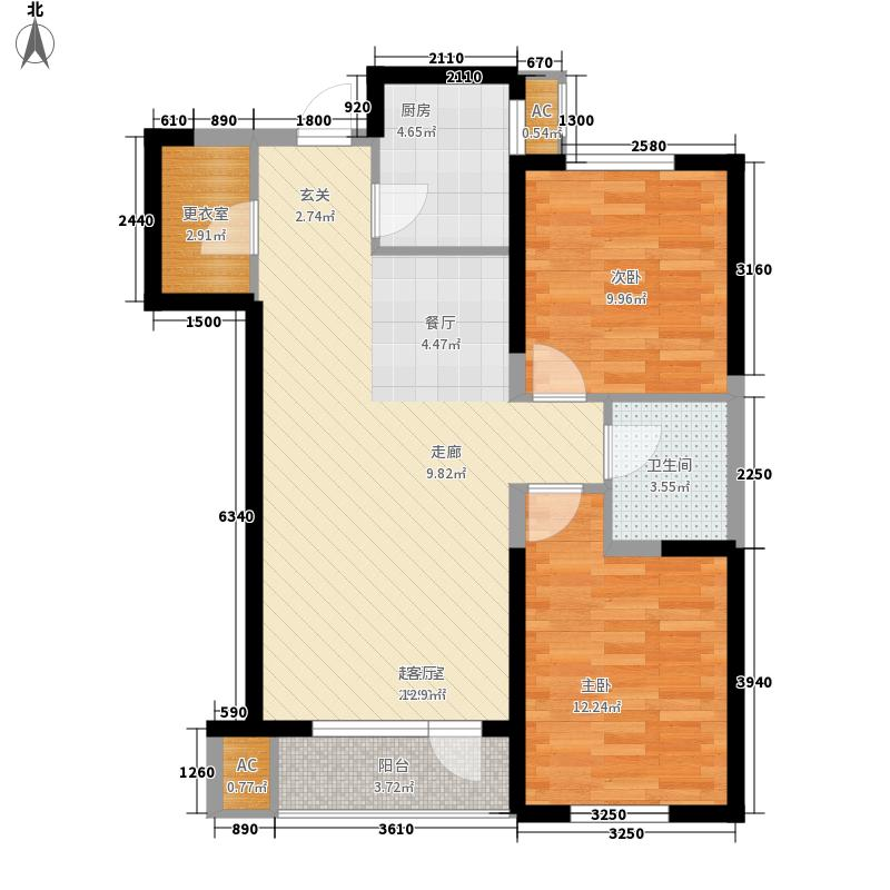 新加坡城89.00㎡浪琴经典B3户型2室2厅