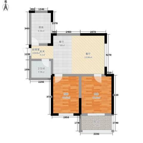 金色阳光花园2室0厅1卫1厨72.00㎡户型图