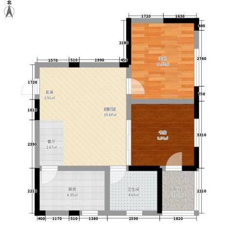 金色阳光花园2室0厅1卫1厨65.00㎡户型图