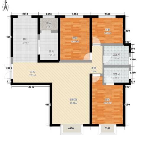 枫景湾家园3室0厅2卫1厨137.00㎡户型图