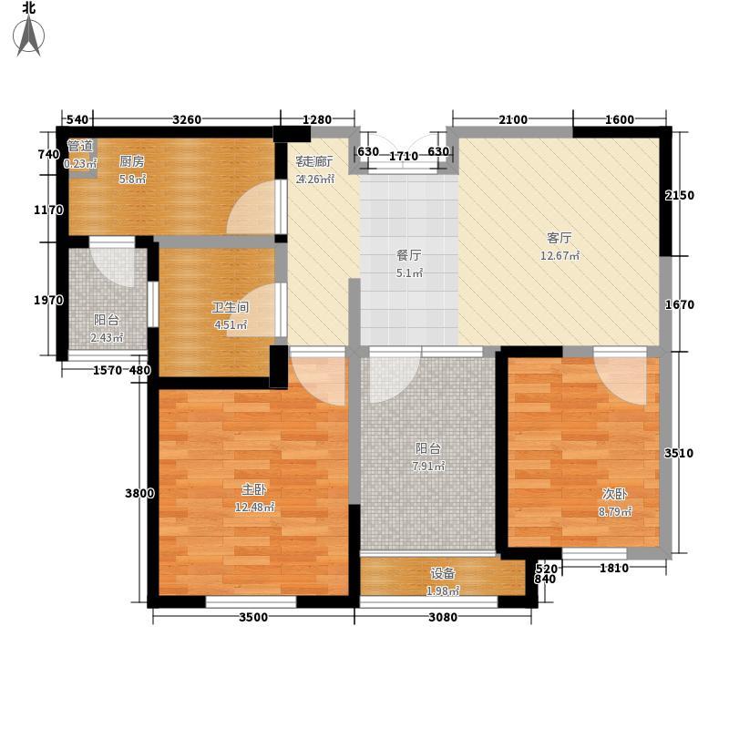 东方维罗纳78.00㎡南区高层49#-54#D1户型2室2厅