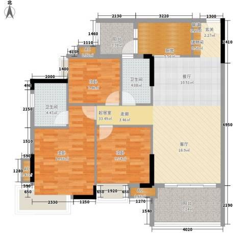 瑜翠园3室0厅2卫1厨105.00㎡户型图