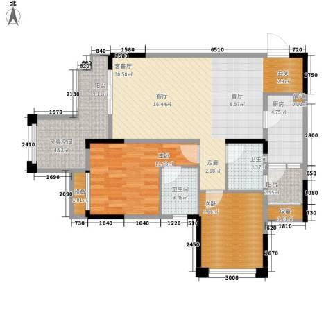 旭辉新里城2室1厅2卫1厨78.00㎡户型图