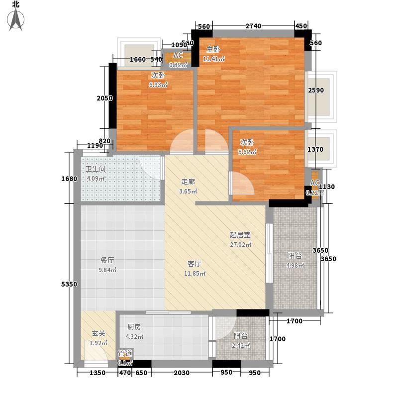 瑜翠园89.47㎡煌苑3座02单元3室面积8947m户型