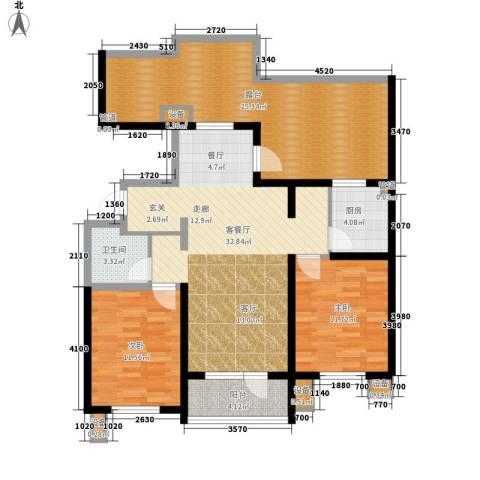 东方太阳城三期琴湖湾2室1厅1卫1厨107.00㎡户型图