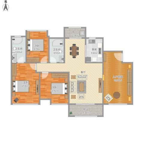 东城四季3室1厅2卫1厨154.00㎡户型图