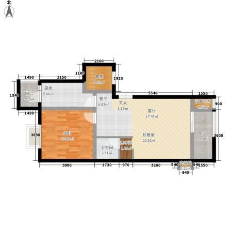 元丰怡家1室0厅1卫1厨67.00㎡户型图