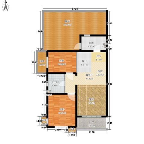 东方太阳城三期琴湖湾2室1厅1卫1厨122.89㎡户型图