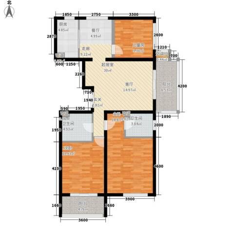 元龙水云间3室0厅2卫1厨132.00㎡户型图