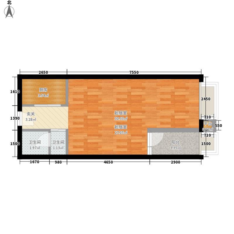 中渝梧桐郡梧桐D1一期D7号公寓标准层9号房户型1室1厅