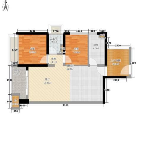 保利百合花园2室1厅1卫1厨82.00㎡户型图