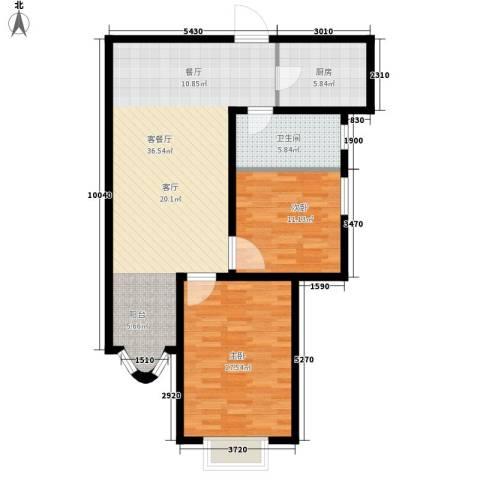 大马庄园2室1厅1卫1厨86.00㎡户型图