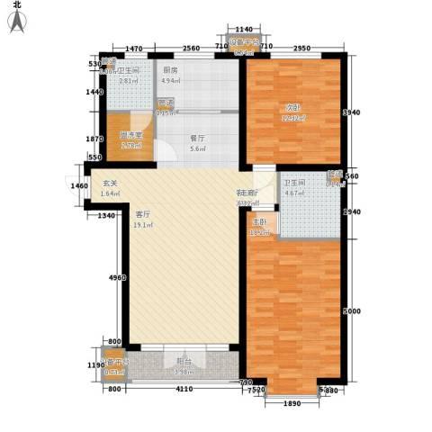 16城联邦公寓2室1厅2卫1厨120.00㎡户型图