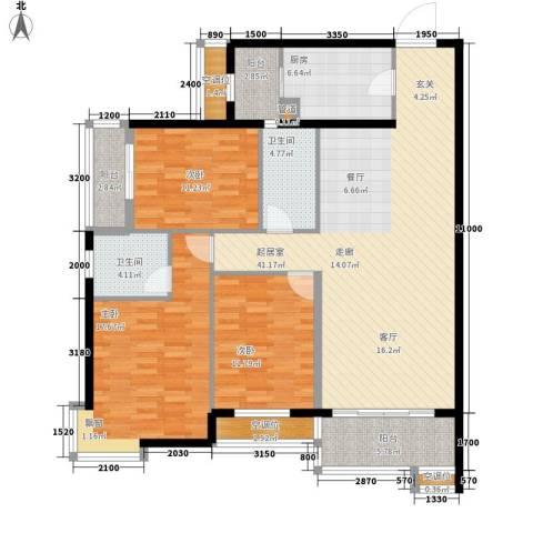 盛世华庭3室0厅2卫1厨148.00㎡户型图