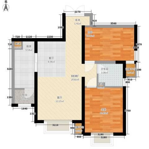 开明小区2室1厅1卫1厨88.00㎡户型图