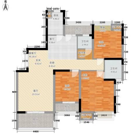 锑都家园3室1厅2卫1厨110.10㎡户型图