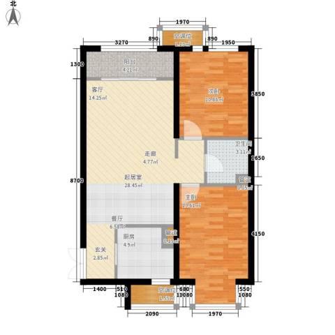 盛世华庭2室0厅1卫1厨91.00㎡户型图