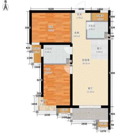 盛世华庭2室0厅2卫0厨91.00㎡户型图