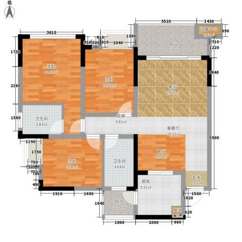 奥林匹克花园红城3室1厅2卫1厨126.00㎡户型图