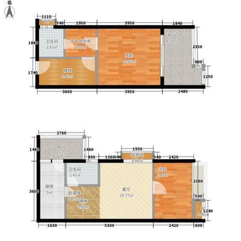 E时代2室0厅2卫1厨64.74㎡户型图