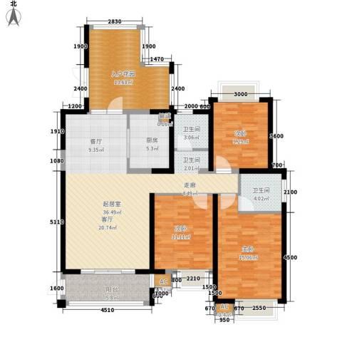 湘江世纪城3室0厅2卫1厨134.00㎡户型图