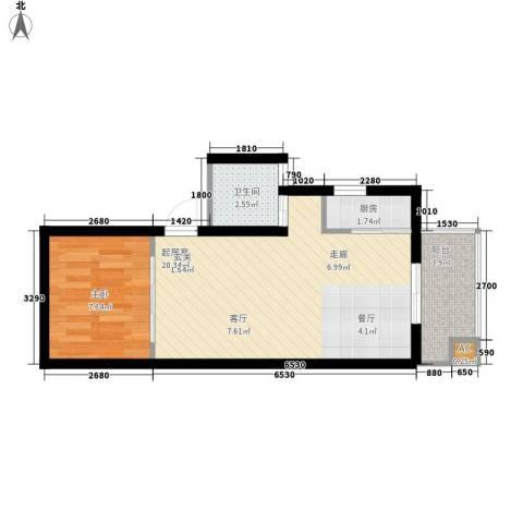 榕青无界1室0厅1卫1厨56.00㎡户型图