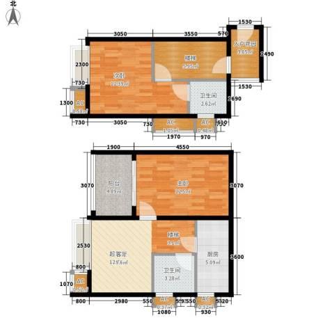 E时代2室0厅2卫1厨65.79㎡户型图