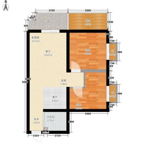 榕青无界2室0厅1卫1厨80.00㎡户型图