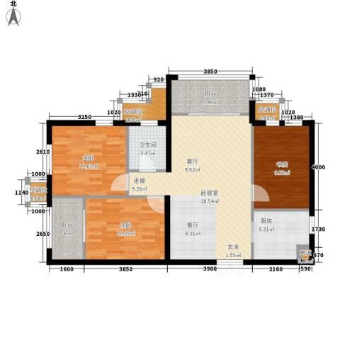 盛世华庭3室0厅1卫1厨102.00㎡户型图