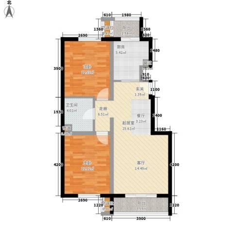 元龙水云间2室0厅1卫1厨94.00㎡户型图