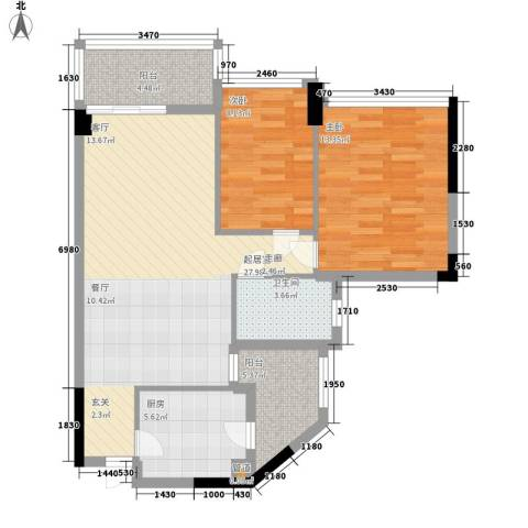 广州雅居乐花园一尺山居2室0厅1卫1厨77.00㎡户型图