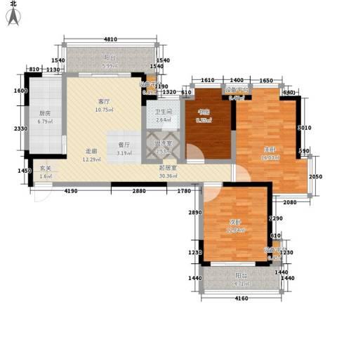 中北蔚蓝星座3室0厅1卫1厨95.00㎡户型图