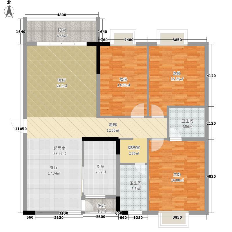 曼谷峰景139.26㎡3房2厅2卫户型3室2厅2卫