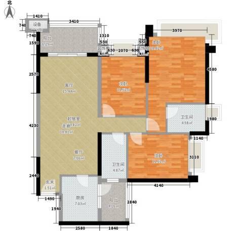 雅居乐世纪新城3室0厅2卫1厨116.00㎡户型图
