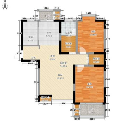 中北蔚蓝星座2室0厅1卫1厨109.00㎡户型图