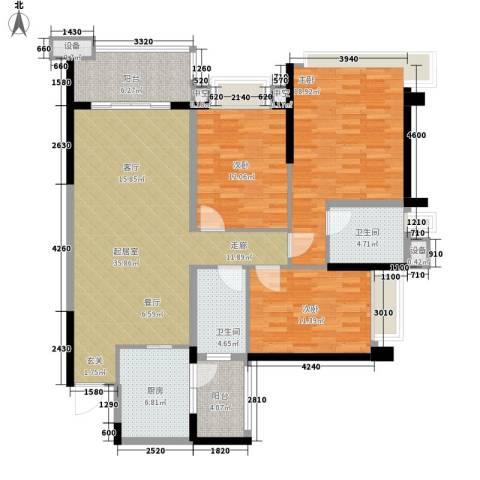 雅居乐世纪新城3室0厅2卫1厨119.00㎡户型图