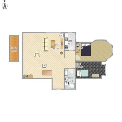 松浦观江国际2室1厅1卫1厨127.00㎡户型图