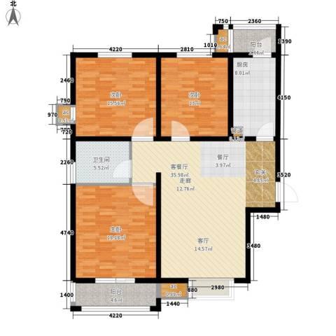 红专路棉麻公司家属院3室1厅1卫1厨120.00㎡户型图